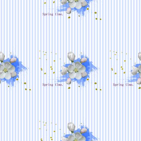 whiteblue: Daisy flower vector illustration. Pattern simless. White-blue flowers on a white background. Seamless pattern.