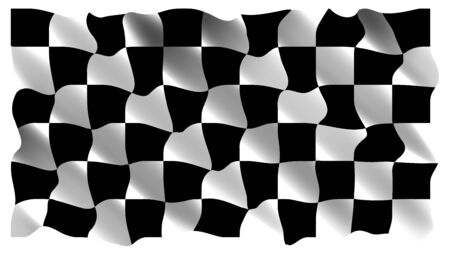 checked flag: Black and white checkers, the realistic, rushing flag. Vector illustration