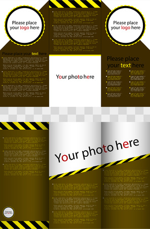 article marketing: Business design of a flyer, white-brown-yellow ornament for business.
