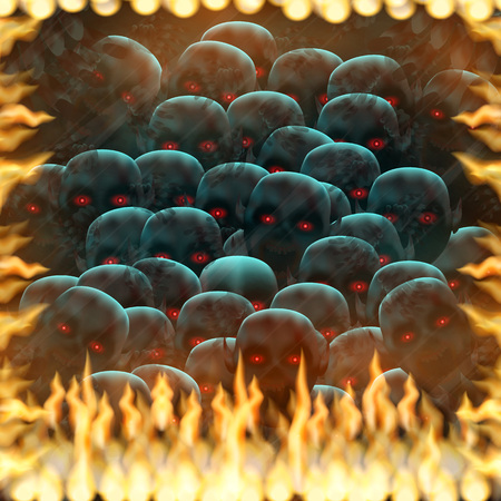 madness: The other world, crowd of the isolated demons from the real world, tries to reach the real world through the mirror captured by fire.