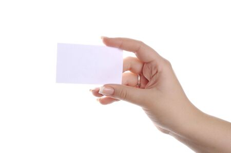 showing white business card photo
