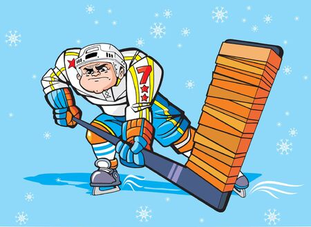 ice hockey player: Ice hockey player with a stick Illustration