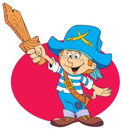 privateer: A child in a pirate costume with a wooden sword and vest