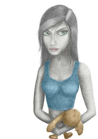 occhi grandi: giovane bella ragazza con gli occhi grandi in possesso di un vecchia bambola