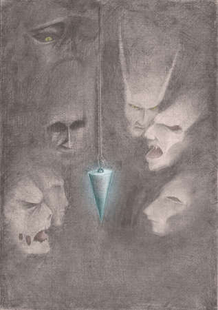 The image of a pendulum hanging in the darkness of the surrounding ghosts Stock Photo - 13046860