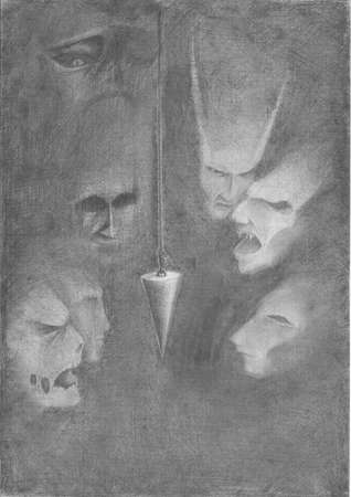 The image of a pendulum hanging in the darkness of the surrounding ghosts