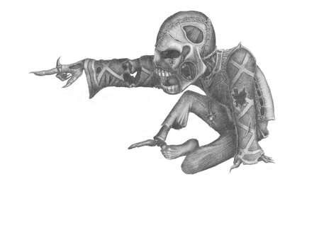 image of the undead, pointing his hand at something in front Stock Photo