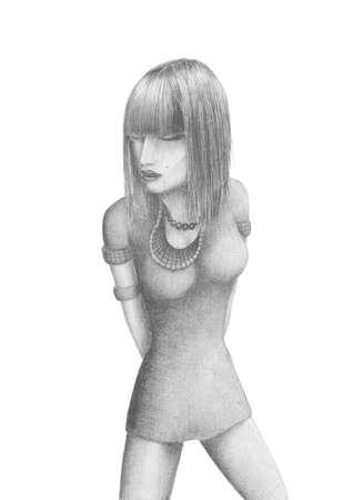 vestido corto: Imagen de una hermosa joven en un dibujo a l�piz vestido corto