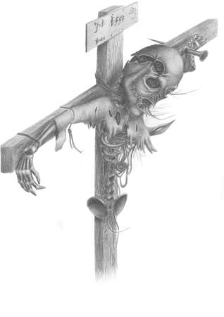inquisition: image of a dead creature, who was crucified on the cross