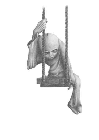 grim picture of dead dolls, sitting on a swing