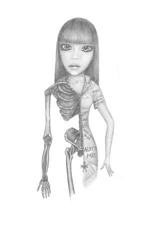 image of a beautiful half-girl half-skeleton. Penciling Stock Photo
