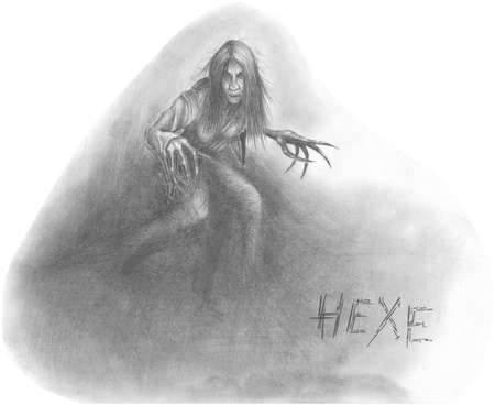 Figure horrible old witch. A series of drawings on the theme of Halloween