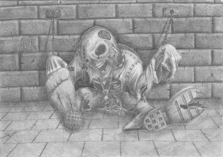 Drawing on the theme of Halloween. Horrible dead thing, shackles chaining to a wall.