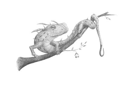 black and white drawing an imaginary lizard sitting on a tree branch