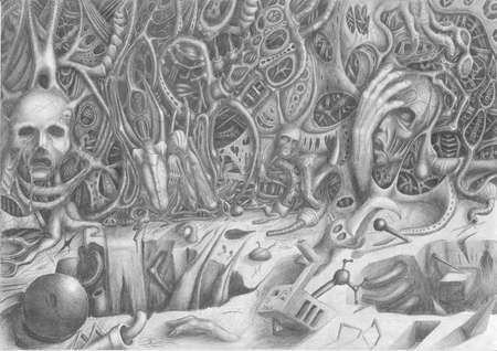 drawing an imaginary wall looking out to the heads of nightmarish creatures suffering and bones Stock Photo