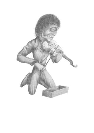 image of a dead fiddler, kneeling and playing on his violin