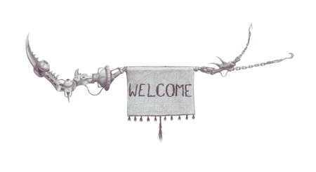 welcome sign, hanging on a strange dangerous mechanism Stock Photo