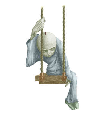 grim picture of dead dolls, sitting on a swing Stock Photo - 13475712