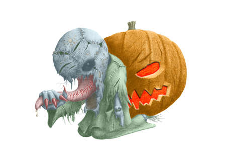 picture strange creature on the background of a pumpkin Stock Photo - 13475760