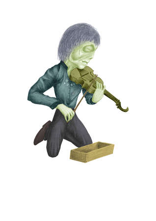 fiddlestick: image of a dead fiddler, kneeling and playing on his violin