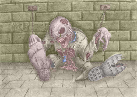 dungeons: Drawing on the theme of Halloween  Horrible dead thing, shackles chaining to a wall