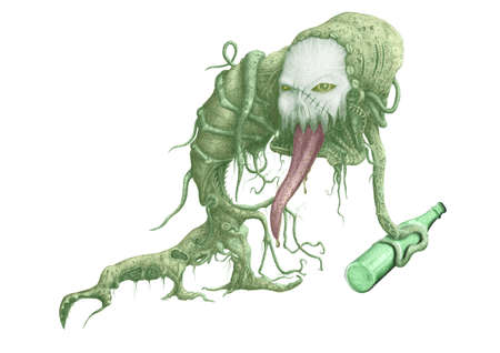 Figure terrible creature with a bottle of alcohol in the tentacles Stock Photo