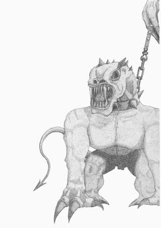 daemon: Figure hellish creatures in chains