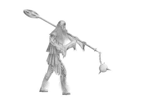 black and white image old viking Stock Photo - 13962691