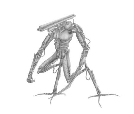 Mech-warrior battle robot with different guns Stock Photo