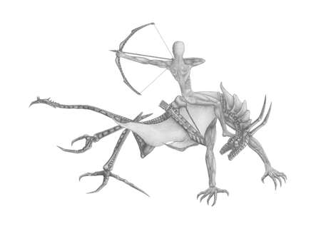 black and white image Archer on the dragon Stock Photo - 14028524
