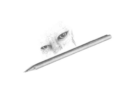 black and white image pencil drawing eyes Stock Photo - 14028488