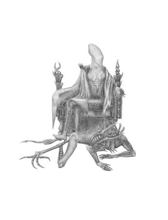 black and white image with scary creature on a throne