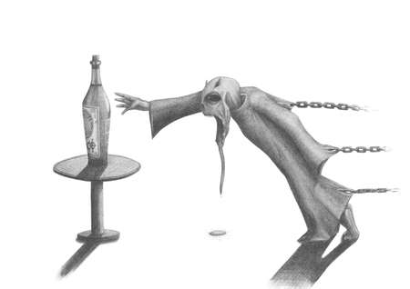 Bound by chains of hell monster reaches for a bottle alcohol Stock Photo