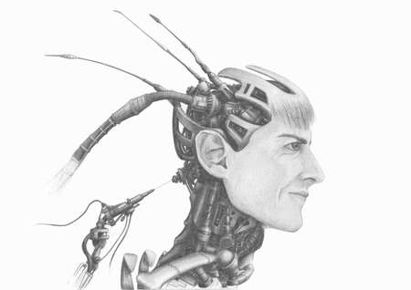pencil drawing of the head of cybernetic robot android