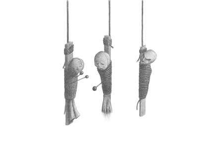 Image three Voodoo dolls,  hanging on the ropes Stock Photo - 15390415