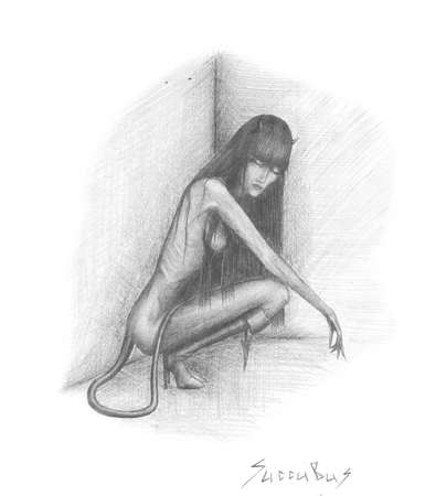 image succubus woman, sitting in the corner Stock Photo - 15390422