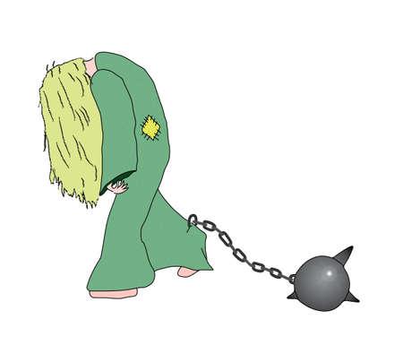 ligotage: Image marcher la t�te en bas, les femmes avec une cha�ne sur sa jambe