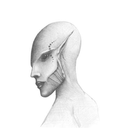 black and white image alien Stock Photo - 20986167