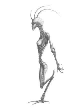 black and white image alien