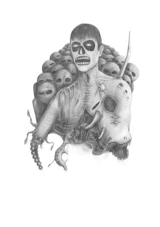 black and white pencil drawing Lord of Darkness with army zombies Stock Photo