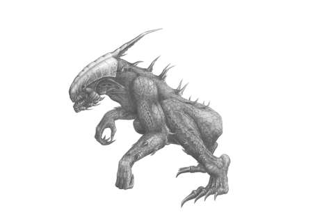 Black and white picture alien predator