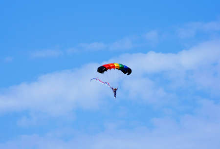 Airshow. Photo parachute in the sky photo