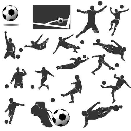 Un ensemble d'éléments de conception pour le football. Icônes de collection de vecteur plat moderne.