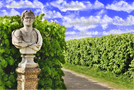 art processing: Bust of emperor Cesar in city park Stock Photo
