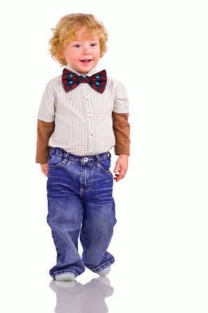 The little boy poses on a podium. Shows a children's fashion Stock Photo - 6878869