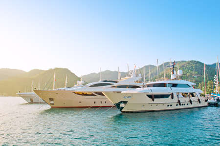green boat: Marine parking of boats and yachts in Turkey Stock Photo