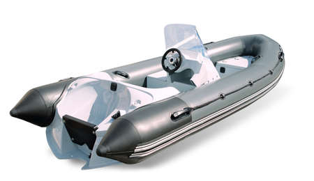 inflate boat: Powerboat burevestnik on a white background isolated