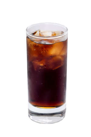 Misted glass with a glass of Coke, Pepsi, rum, cocktai, alcohol ice cubes on a white background Foto de archivo