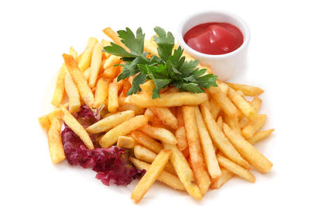 sauce dish: Side Dish French Fries Served with Parsley Potatoes fried fries with ketchup and greens. Isolated on White Background Stock Photo