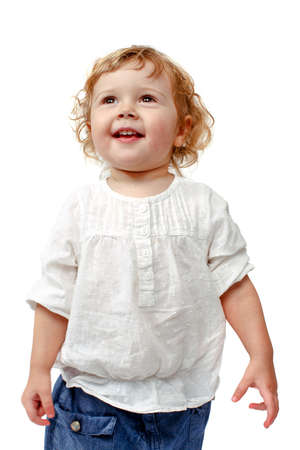 1 2 month: The child dances on a white background, indulge in, runs, plays, hands up